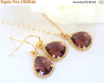 SALE Bridesmaid Jewelry, Plum Earrings and Necklace Set, Eggplant, Burgandy, Wedding Gifts, Gold Filled, Wedding Jewelry, Dangle, Gift, Pend