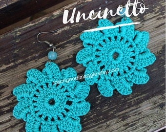 Crochet earrings-earrings, crochet, cotton, summer, colors