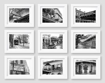 SALE, New Orleans Print Set, New Orleans Wall Art, Black and White Photography, French Quarter, Gallery Wall, Travel Decor, 5x7, 8x10