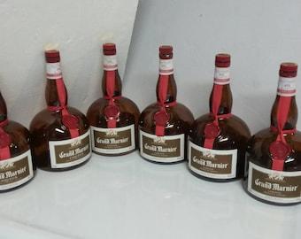 6 empty grand marnier liquor bottles 1 liter