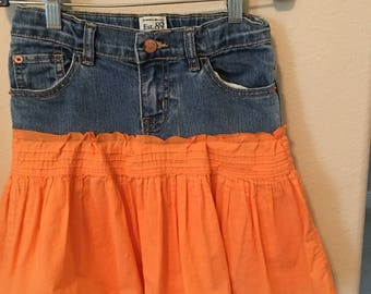 Girls size 8 Upcycled Jean Skirt