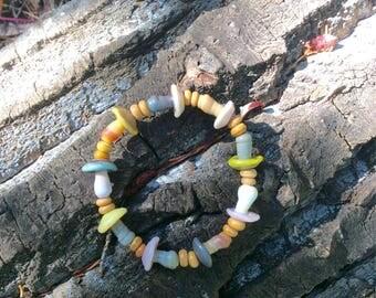 Magic mushroom bracelet lampwork glass beads