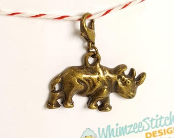 Rhino (bronze) Progress Keeper Marker Stitch Marker with lobster clasp PK0020