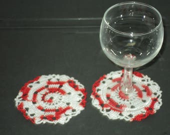 SET of 6 DOILIES or coasters handmade crochet Red