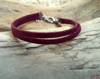 Leather bracelet 2 links shiny Bordeaux wine Boho jewelry By Dodie