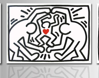 Painting tributo Keith Haring pop art hand painted on Canvas. Acrylic painting Wall decor Wall art idea gift