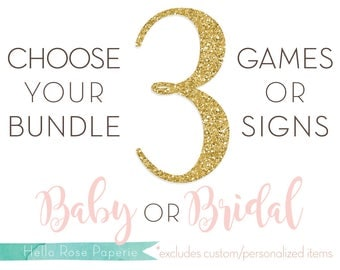 Choose Any 3 Games or Signs in my Shop! Baby Shower OR Bridal Shower Games and Signs *Sorry, Custom Games or Personalized Signs Not Included