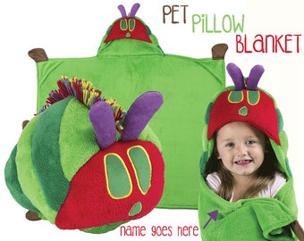 Personalized Hungry Caterpillar Pillow Blanket for kids | The very hungry caterpillar birthday gift | Hooded blanket Pillow |