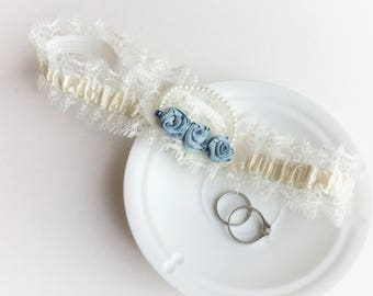 Vintage wedding garter, cream vintage-style lace, Something Blue roses and a strand of pearl beads, bridal lingerie, bride to be gift