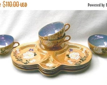 ON SALE Party, Luncheon Sets (4) Gold Lustre Made in Japan