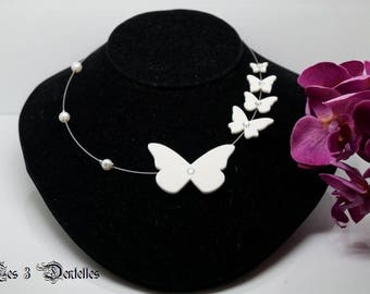 Bridal White Butterfly flight * 3 lace *.