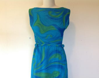1960s Suzy Perette turquiose swirl silk dress