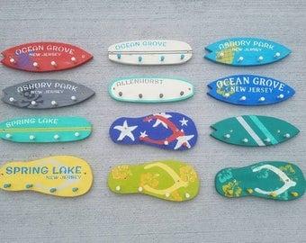 Key Hook, Beach Key Hook, Key Hanger, Key Holder, Wood Wall Hooks, Surfboard Key Hook, Flip Flop Key Hook