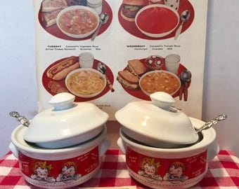 Campbell's Soup Soup Bowls with lids Campbell's Soup Kids Bowls Campbell's Soup Spoons Campbells kids Silver Spoons