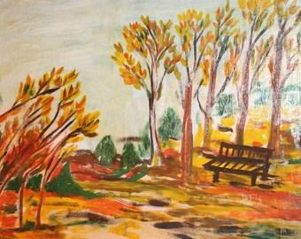 Forest vintage oil painting landscape signed