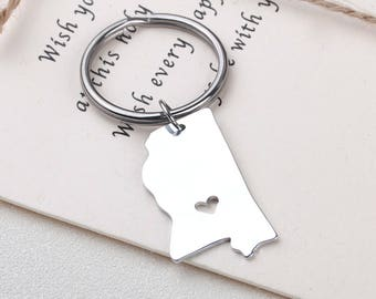 I heart Mississippi keychain - Mississippi keyring - Map Jewelry - State Charm - Map keychain