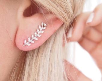 Earrings 925 sterling silver Laurel leaf and CZ - sterling silver ear cuff earring