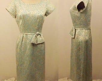 50's Vintage Green Short Sleeve Evening Dress Size 6