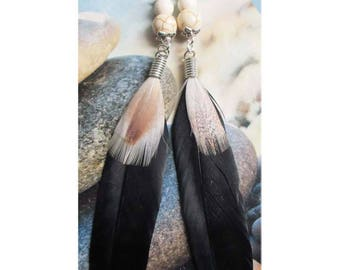 "Earring ""large black feathers and small red and beige and howlite on silver metal beads"""