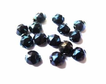 VINTAGE 7 MM FACETED BLACK IRIDESCENT LOPHO PELLETS 10