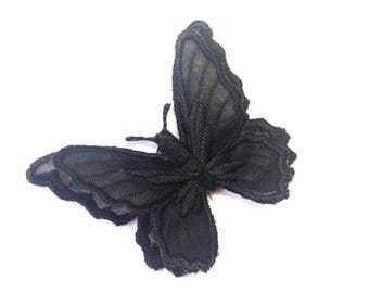 BUTTERFLY SHAPED ORGANZA BLACK AND EMBROIDERED SATIN BLACK 45/55 MM WIRE