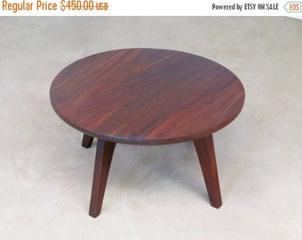 Mid Century Modern, Round Side Table, Handcrafted, Sustainable Tropical  Hardwood, Elegant,