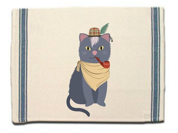 Hipster Cat Kitchen Towel, Dish Towel, Tea Towel, Flour Sack Material,Woodland Animals Dish Towels,Flour Sack Kitchen Towel, Dish Cloth