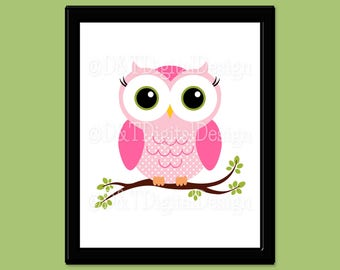 "Pink Owl Art, YOU PRINT Nursery Owl Print, Printable Digital Download, Owl Room Decor, Owl Art Download, SIZE 8"" x 10"" Printable Image"