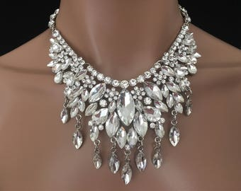 Bridal Jewelry Set Chandelier Rhinestone Necklace With Earringwedding Costume