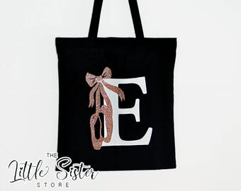 Initial Rose Gold Glitter Ballet shoe Dance Bag