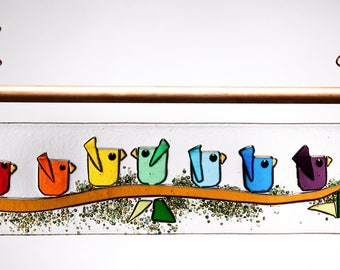 Mom, Dad and All the Kids~ Customized Horizontal  Fused Glass Bird Panel ~ Customize for your Family