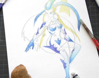 Final Fantasy VIII Guardian Force Shiva watercolor painting