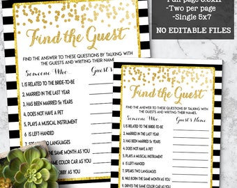 Find the Guest game Bridal Shower game printable Wedding shower game Bachelorette party gold confetti chic games Instant download 05 G102