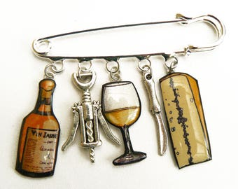 Brooch pin yellow wine bottle, glass, morbier and corkscrew