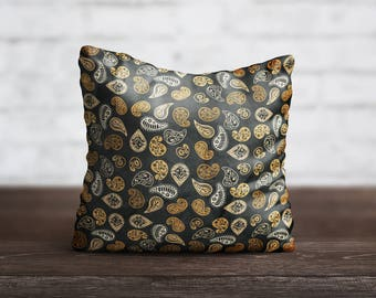 Paisley PillowCase Black Throw Pillow Cover Yellow Decorative PillowCase Sofa Toss Pillow Silk Pillow Case Satin PillowCase Art Home Decor