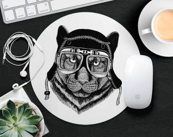 Black Cat Mouse Pad Animal in Glasses Cute Mouse Mat Funny Mouse Pad Kids MousePad Hipster Mouse Mat Animal Lover Gift Cat Desk Accessories