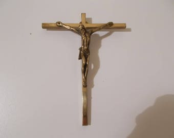 Vintage French Solid Brass Wall Hanging Crucifix.  Religious Catholic Crucifix.  Crucifix. Brass Corpus Christi.