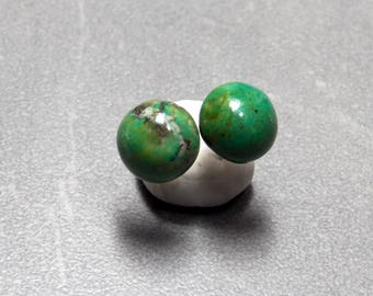 10mm Tibetan Turquoise Round Gemstone Post Earrings with Sterling Silver