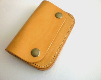 Celyfos ® Minimal Wallet Hand made Greek leather veg tanned Biker style Personalized