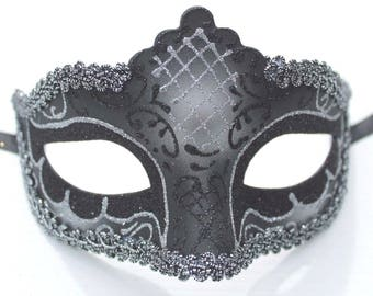 Black and Silver Masquerade Mask Rialto Style