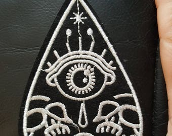 Ouija Board Planchette Gothic Embroidered Iron on Applique Motif Patch
