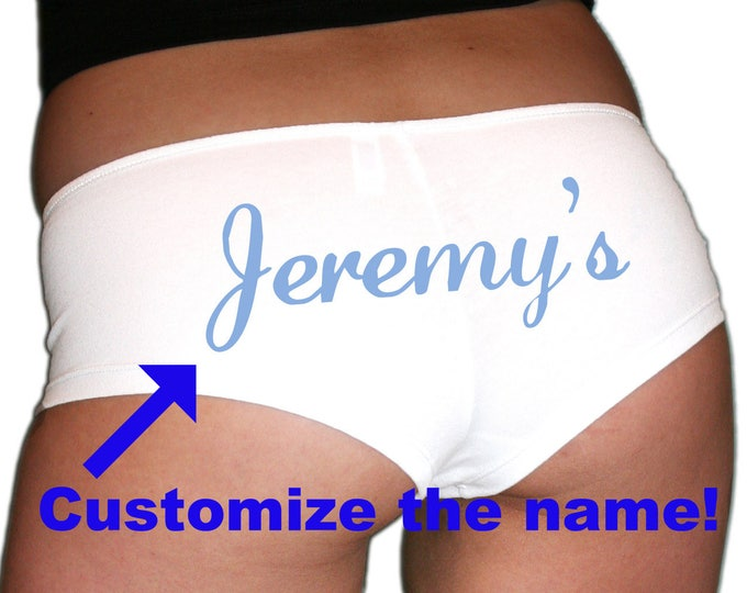 Custom Name Underwear Blue Text, Bachelorette Party Gift