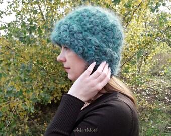 Warm Winter Hat For Women - Crochet Womens Mohair Beanie Hat - Knit Chunky Wool Hat