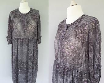Vintage 70s Blue Grey Dress, Hippie Dress, Summer Dress, Day Dress, 70s Pattern Dress, Sheer Dress, Size 14 16