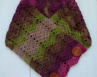 Cowl, Neckwarmer, Ripple Stitch Cowl, Button Detail, Crochet