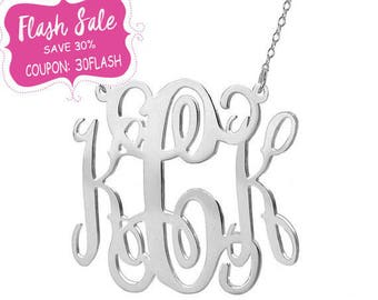 Monogram necklace - 1 inch Personalize Necklace pendant select any initial made with 925 Sterling silver