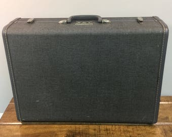 "Vintage Samsonite gray hard side suitcase  luggage no key tweed look mid century travel case 21"" x 16"" x 7.5"" musty smell"