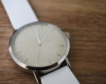 Italian Bamboo Watch Dial & White Italian Leather Wood Luxury Minimalist Watch
