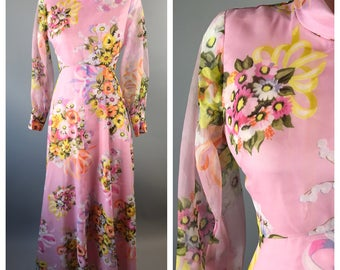 Vintage 60s Pink Floral Dress Maxi Sheer Sleeves Mod Easter Spring Chiffon Pastel
