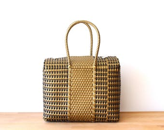 Gold & Black  Handwoven Mexican Bag, Mexican Tote, Oaxaca Tote, Mexican Plastic Bag, Mexican Basket, Mexican Art, MexiMexi, Picnic Basket